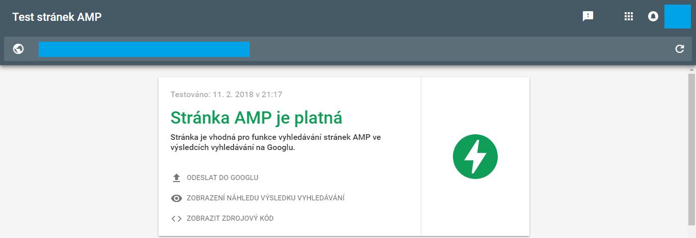 Testovací nástroj stránek AMP od Googlu
