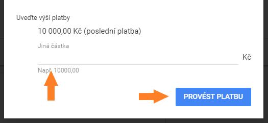 4. krok dobití kreditu na Google Ads