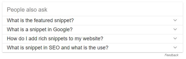 Lidé také hledají - Featured snippets