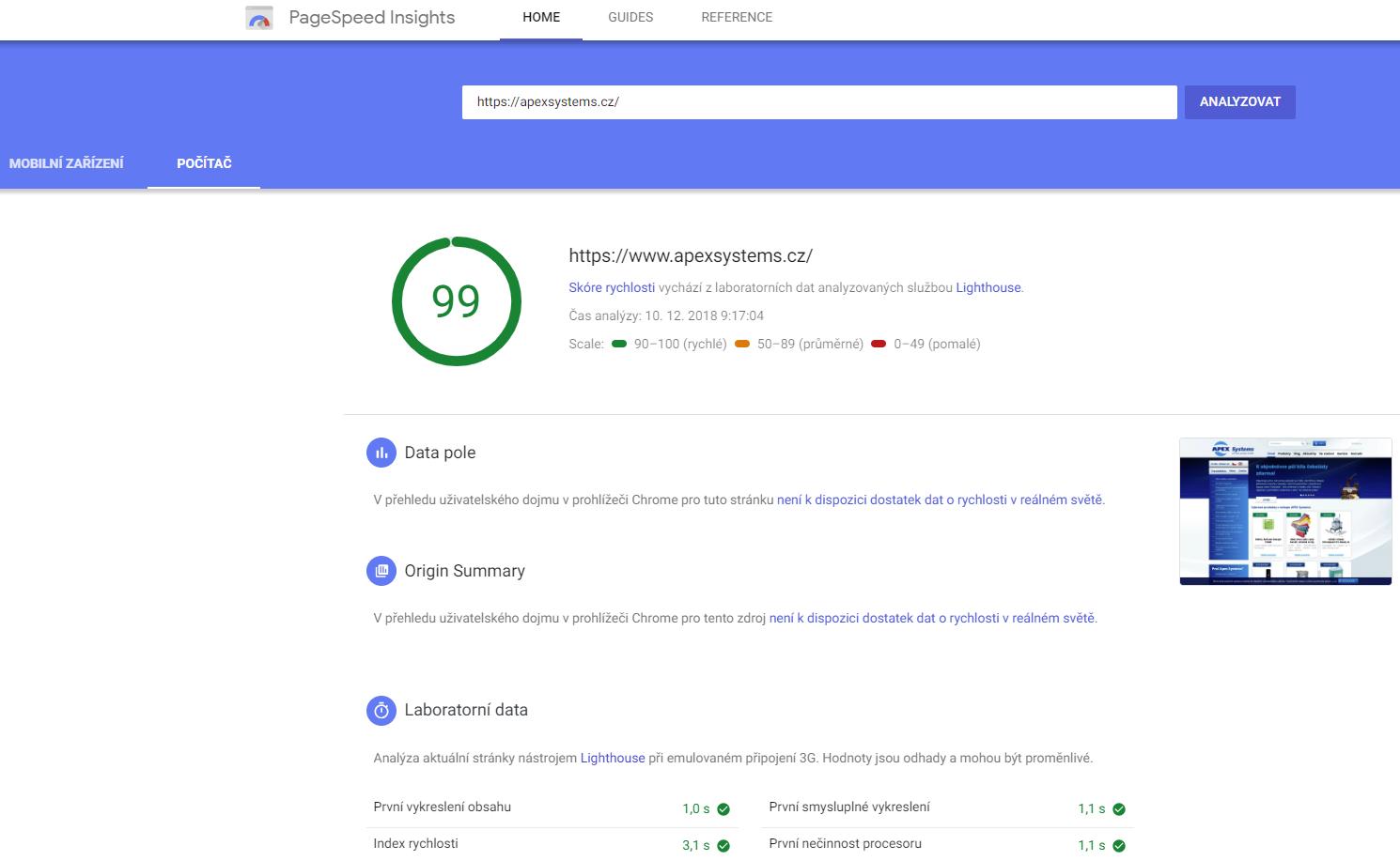 Test rychlosti načítání stránek - PageSpeed Insight