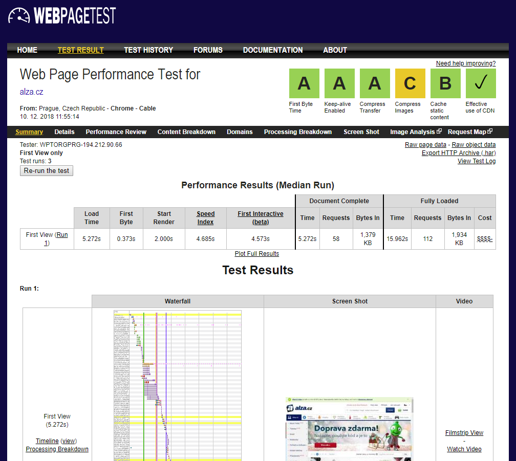 Test rychlosti načítání stránek a výkonu - WebPageTest