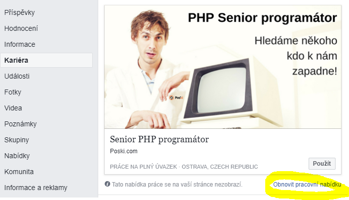 PHP programátor Kariéra na Facebooku