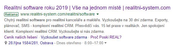 ppc reklama Poski REAL realitní systém