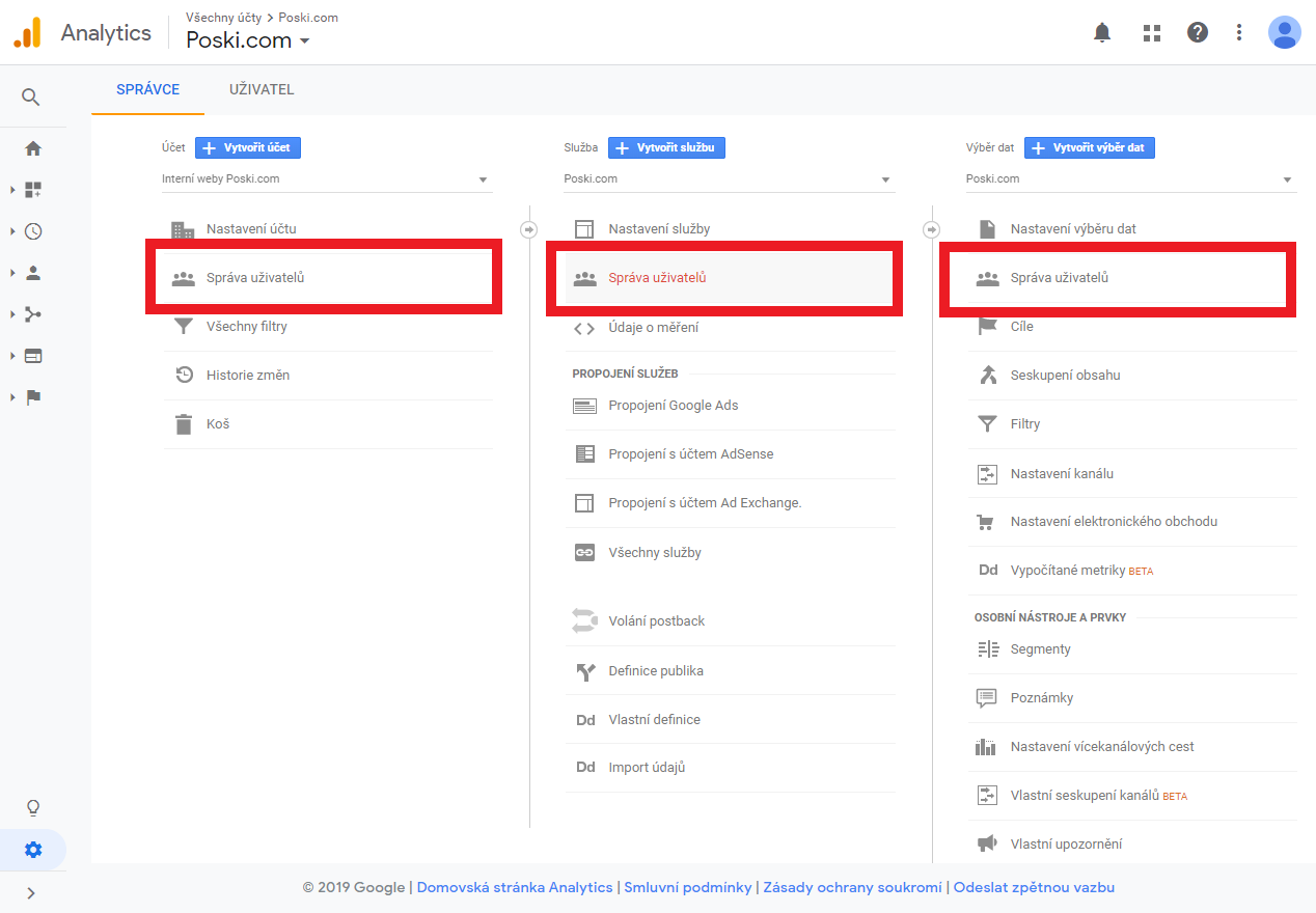 Nasdílení Google Analytics 5. krok