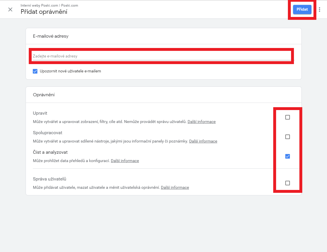 Nasdílení Google Analytics 7. krok