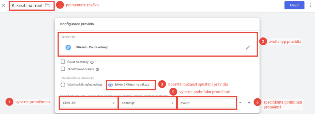 Nastavení pravidla pro spuštění značky v Google Tag Manageru